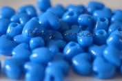 50 x Neon Blue Opaque Heart Pony Beads - 13mm