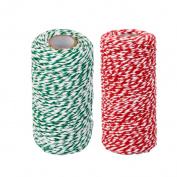 Baoblaze 2 Rolls Bakers Twine 100m 2mm Striped Cherry Red and Green - Decorative Bakers Twine for DIY Crafts and Gift Wrapping Cord String