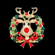 Qinlee Woman Brooches Christmas Colourful Elk Women's Brooch Pins Rhinestone Covered Brooches For Wedding Party Christmas Xmas Décor