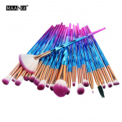 Unicorn Makeup Brushes - Diamond Multi-Coloured Synthetic Make Up Brushes KaloryWee Beauty Powder Blush Concealer Eyeshadow Brushes Set 20pcs