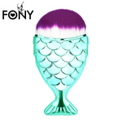 Unicorn Chubby Fish Style FishTail Purple Hair Round KaloryWee Beauty Liquid Foundation, Face Contour, Concealer, Blush, Blending Makeup Brush 1pc Green
