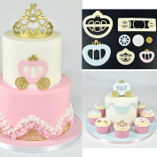 Cake Decorating Mould, Sacow Fondant Cake Mould Cookie Cutter Princess Carriage Print Plunger 3 Pc
