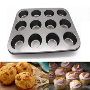 Cake Mould,AutumnFall 12 Cups Non Stick Dishwasher Microwave Safe Carbon Steel Muffin Cupcake Baking Pan