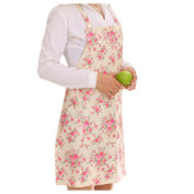 Inkach Bib Aprons with Pockets Women Floral Printed Cooking Kitchen Restaurant Aprons