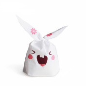 MAXGOODS 100Pcs Cute Bunny Rabbit Ear Cookie Candy Treat Bags,Gift Wrap Bags for Cupcake Bakery Dessert Baking and Wedding Decoration Bridal Party