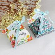 Kicode 10Pcs Cone Shaped Ribbon Sugar Candy Box Packing Wedding Party Favour Birthday Gift Supplies