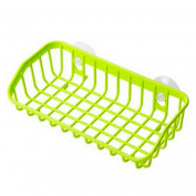 Double Suction Cup Sink Sponge Soap Holder Kitchen Bathroom Drain Storage Rack - Green Amesii