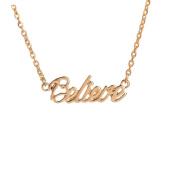 Baosity Simple Design Alloy Women English Believe Letter Pendant Necklace Chain 41cm