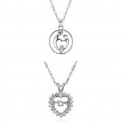 "Homyl 2 Pcs Silver plated ""Mother & Child"" Lovely Mom Letter Pendant Necklace Party Chain for Mother"