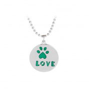 Cdet Women Necklace Cute Dog Footprint Pendant Necklace Collar Chain Necklace Birthday Gift Green
