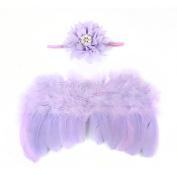 ZHUOTOP Newborn Baby Lotus Headband Feather Angel Wings Set Toddler Stretch Rhinestone Hair Band Photo Props Purple