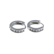 Minshao New Fashion Silvering Plated Cz Small Round Huggie Hoop Earrings