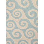 0.6m x 0.9m Light Blue and Sandy Tan Outdoor Wave Hello Area Throw Rug