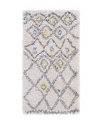 2 x 3.6 Ancient Rhombus Illusion Aqua Blue and Marigold Yellow Plush Area Throw Rug