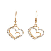 Minshao Wedding Banquet Wedding Accessories Double Love Heart-shaped Earrings Necklace