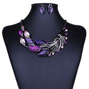 Minshao Elegant Women Lady Purple Peacock Enamel Bib Necklace Stud Earrings Set