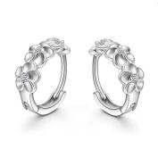 Minshao Fashion Women Silver Flower Plated Crystal Rhinestone Stud Earrings