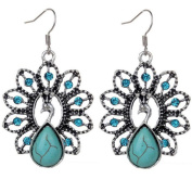 Minshao Woman Bohemia Vintage Peacock Turquoise Earrings Delicate Carved Hollow Jewellery