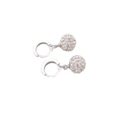 Minshao Unique Womens white gold filled white Clear crystal charming hoop earring