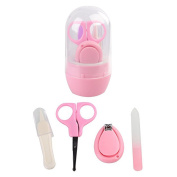 FYGOOD Newborn, Baby, Infant and Toddler Grooming Kit with Scissors, 4 in 1 Nail Clippers Set pink one size