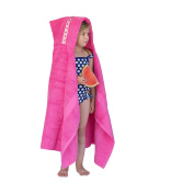 Hooded Owls large hooded towel for children, 1-8yrs, pink with Watermelons trim