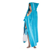 Hooded Owls Jumbo hooded towel for children, 7-13yrs, turquoise with a Waves trim