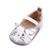 Dinglong Baby Girls Anti-Slip Princess Shoes - Toddler Infant Kid First Walking Shoes Fashion Cartoon Cat Soft Sole Shoes - Age 3-12 Months Child Shoes