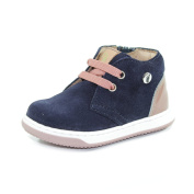 WALKEY Flexible Shoes With Laces, Lateral Zip and Aloe Bottom First Steps Made In Italy AM60619A Blue/Pink