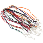 """Skyllc® 3 X 14 PCS 3mm Mixed 7 Colour Flat Velvet Cord Rope Chain Necklace with Solid Metal Lobster Claw Clasp for DIY Jewellery Making 16.8-18.1"""""""