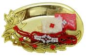 Floral Design Oval Shape Gold Tone Plated Indian Brother Rakhi Tilak Pooja Thali Set