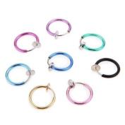 Pengmma Mix Colour Clip Punk Nose Ear Belly Prevent Allergy Earrings