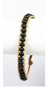 Stone Beaded Fashion Bracelet, Beaded Wrap With Real Leather Cord, (Black) Rustic and Natural Look, Uses An Easy Hook Clasp, Bead Wrap Is 17cm Long