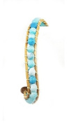 Stone Beaded Fashion Bracelet, Beaded Wrap With Real Leather Cord, (Pale Blue) Rustic and Natural Look, Uses An Easy Hook Clasp, Bead Wrap Is 17cm Long