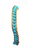Stone Beaded Fashion Bracelet, Beaded Wrap With Real Leather Cord, (Turquoise) Rustic and Natural Look, Uses An Easy Hook Clasp, Bead Wrap Is 17cm Long