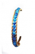 Stone Beaded Fashion Bracelet, Beaded Wrap With Real Leather Cord, (Blue Multi) Rustic and Natural Look, Uses An Easy Hook Clasp, Bead Wrap Is 17cm Long