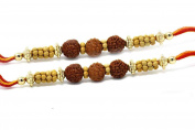 Set of two Red White Golden Fancy beads multicoloured thread Rakhi Rakshabandhan Rakhi for Brother