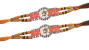 Set of Two, Rakhi thread, Shubh Labh Design,Multi Colour Beads and 30 Stone Raksha Bandhan Rakhi yellow and Orange ColorColor Threds