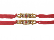 Set of two golden Fancy stone wooden beads Rakhi Rakshabandhan