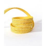 Faux Suede Studded Yellow x1 m – Rhinestones Gold – 5x2 mm Suede Cord by The Metre
