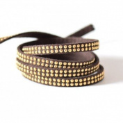 Faux Suede Studded Two Rows 5x2 mm with Gold Rhinestones Coconut Brown Faux Suede Cord – Sold by the Metre