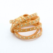 Faux Suede Studded Orange x1 m – Rhinestones Gold – 4,5x2 mm Suede Cord by The Metre