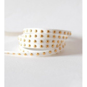 Faux Suede Studded 4,5x2 mm White with Rhinestones dorés- Faux Suede Cord – Sold by the Metre