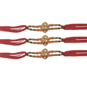 PMK Set of Three Shree with red Thread. Raksha bandhan Gift for your Brother.Colour Vary and Multi Design