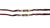 PMK Set of Two, 6 Stone, Rakhi thread, Raksha bandhan Gift for your Brother, Maroon Colour Vary and Multi Design