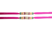 PMK Set of Two, 3 Stone gwith Moti Rakhi thread, Raksha bandhan Gift for your Brother, Pink Colour Vary and Multi Design