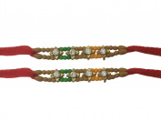 PMK Set of Two, 4 Stone with Moti Rakhi thread, Raksha bandhan Gift for your Brother, Red Colour Vary and Multi Design
