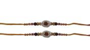 PMK Set of Two Rakhi, Oval Shape White Ring Rudrakhsa Rakhi thread, Raksha bandhan Gift for your Brother, Orange Red Colour Thread.Colour Vary and Multi Design