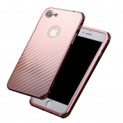"Carbon Fibre iPhone 6s Case, Ultra Thin iPhone 6 Case, Bonice 2-in-1 [Metallic Bumper Frame + Hybrid Carbon Fibre Body] Matte Slim Light Anti-slip Brushed Detachable Protective Back Cover Hard Shell Case for iPhone 6 / iPhone 6s 4.7"" - Rose Gold"
