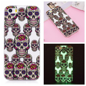 Luminous Skulls Case Cover for iPhone 6 12cm , iPhone 6S Skulls Case, Bonice Anti-yellowing TPU Silicone Gel Fluorescent Creative Phone Bumper Case Scratch Resistance Unfading Ultra Thin Slim Protective Case for iPhone 6 / iPhone 6S - Skulls