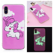 Unicorn Case Cover for iPhone X 15cm , iPhone X Luminous Unicorn Case, Bonice Fluorescent Phone Bumper Anti-yellowing TPU Silicone Gel Case Scratch Resistance Unfading Ultra Thin Slim Protective Case for iPhone X / iPhone X - Pink Unicorn